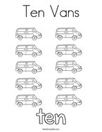 Ten Vans Coloring Page