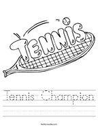 Tennis Champion Handwriting Sheet
