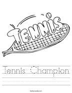 Tennis Champion Handwriting Sheet
