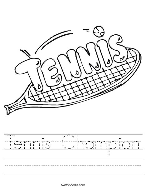 Tennis Champion Worksheet