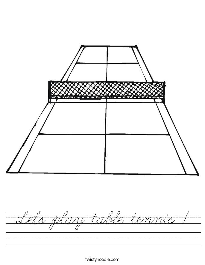 Let's play table tennis ! Worksheet
