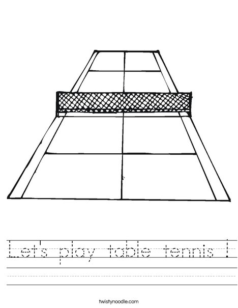 Tennis Court Worksheet