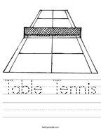 Table Tennis Handwriting Sheet