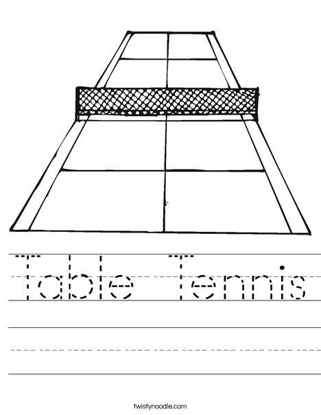 Tennis Court Worksheet