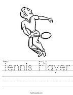 Tennis Player Handwriting Sheet