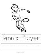 Tennis Player Handwriting Sheet