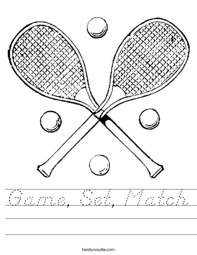 Game, Set, Match Worksheet