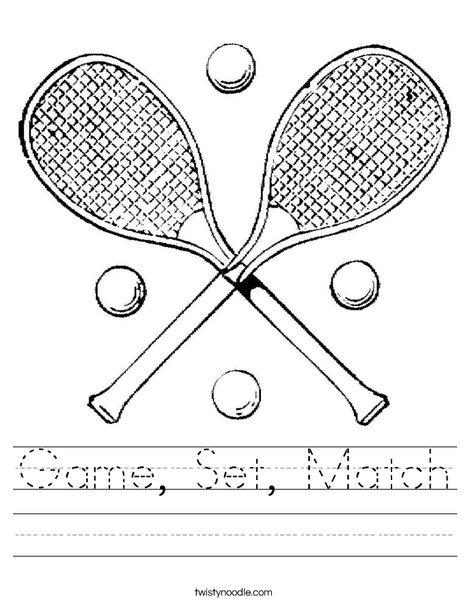 Tennis Rackets Worksheet