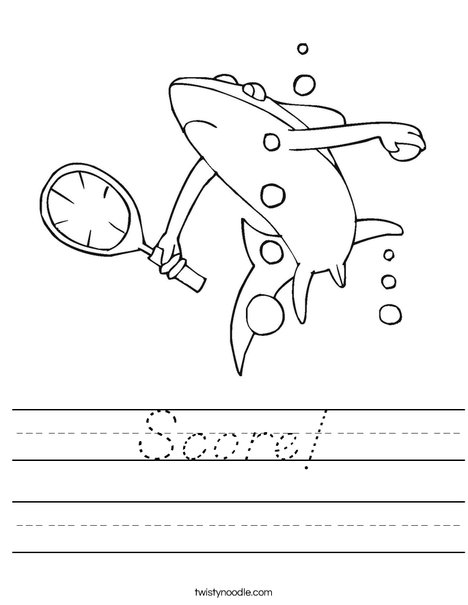 Tennis Shark Worksheet