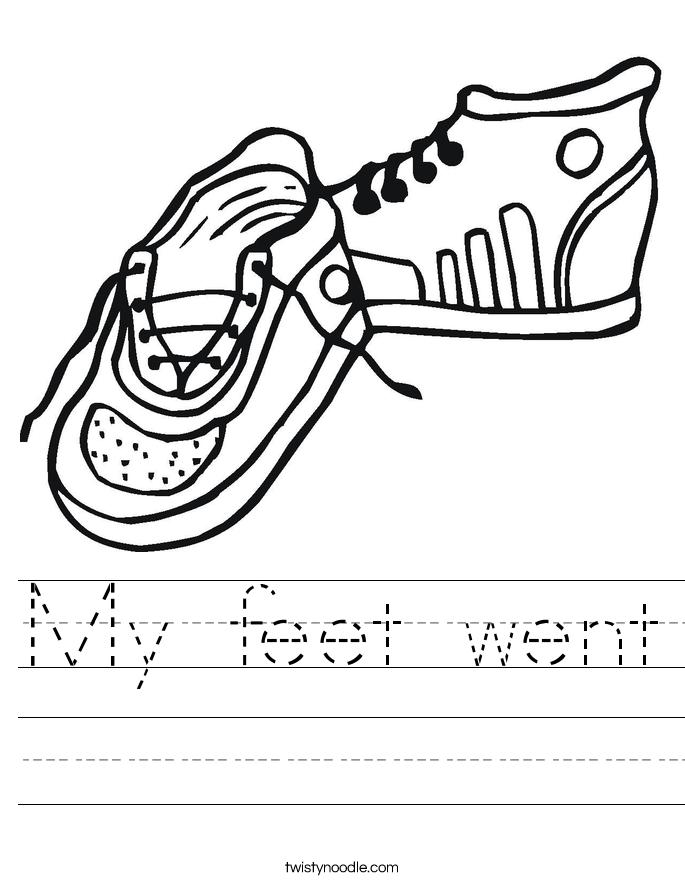 My feet went Worksheet