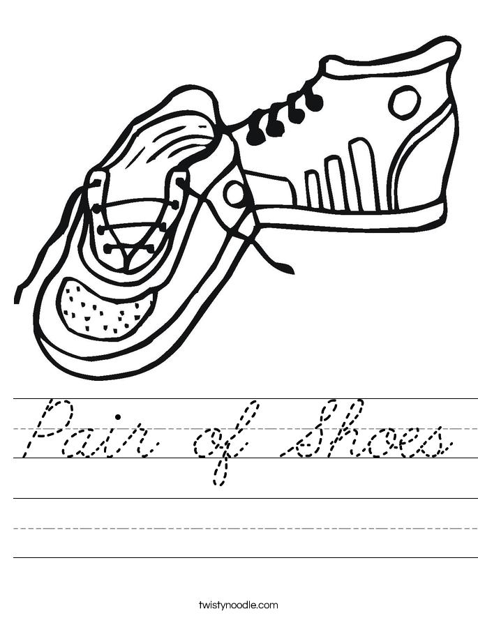 Pair of Shoes Worksheet