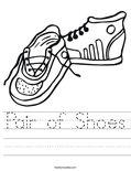Pair of Shoes Worksheet