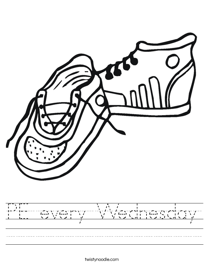 PE every Wednesday Worksheet