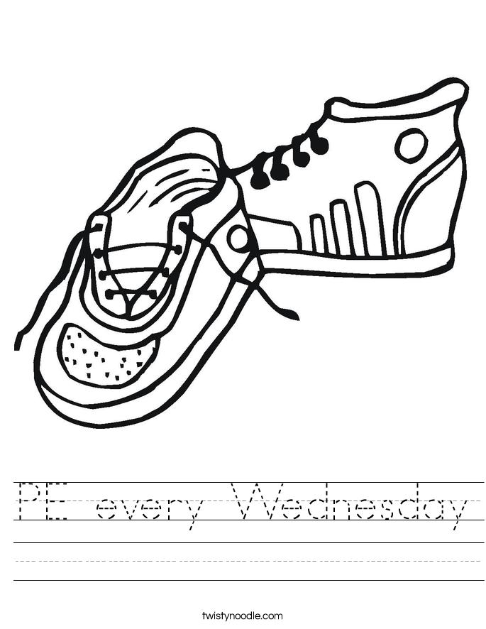 PE every Wednesday Worksheet