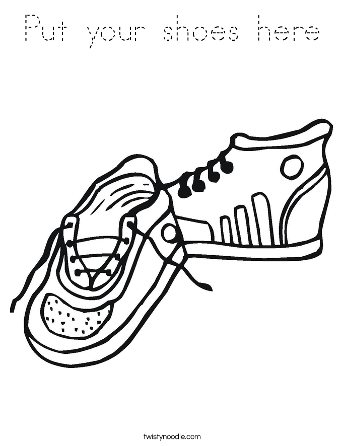 Put your shoes here Coloring Page