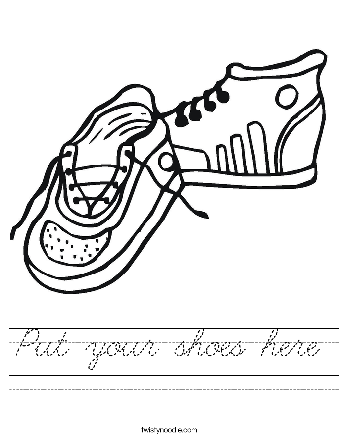 Put your shoes here Worksheet