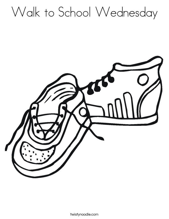 Walk to School Wednesday Coloring Page