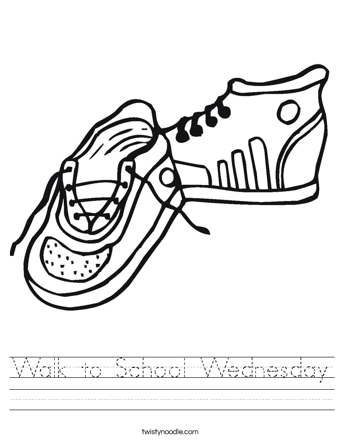 Walk to School Wednesday Worksheet