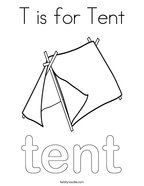 T is for Tent Coloring Page