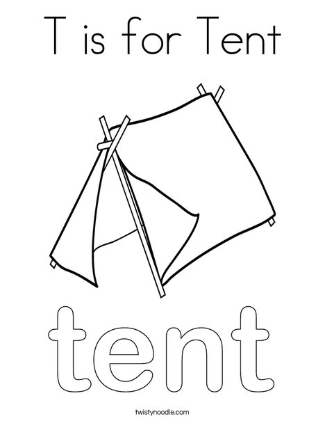 T is for Tent Coloring Page - Twisty Noodle