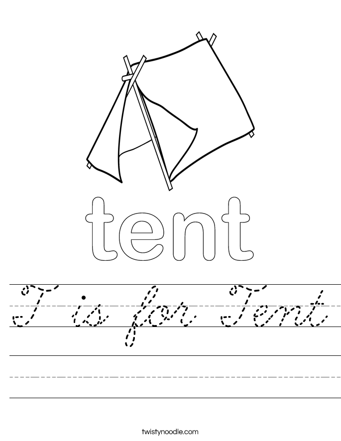 T is for Tent Worksheet