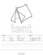 T is for Tent Handwriting Sheet