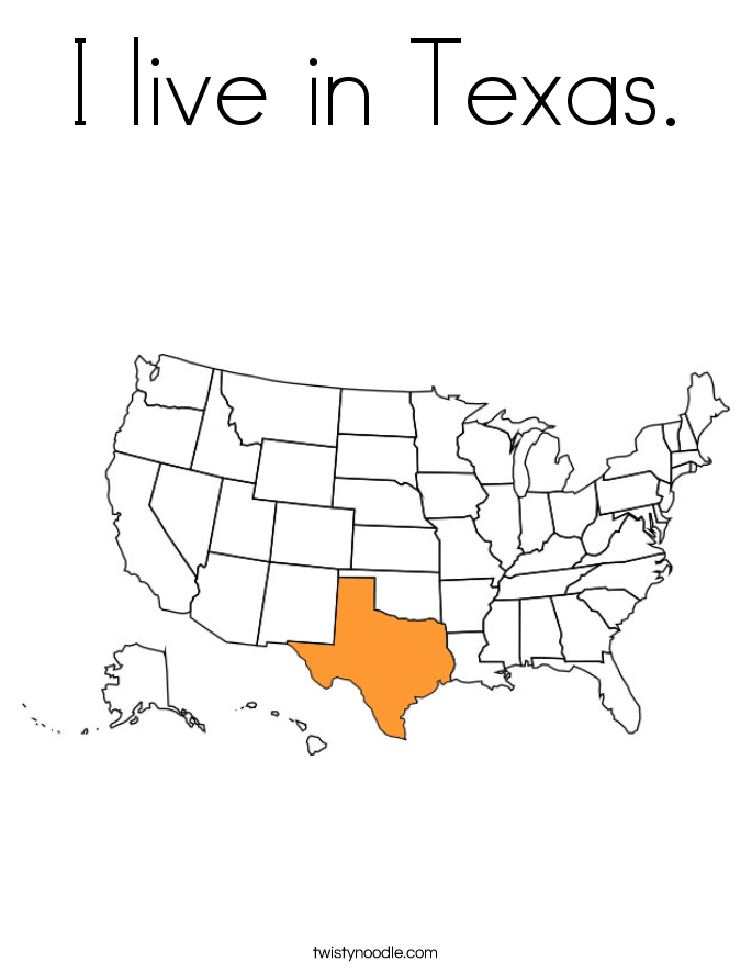 I live in Texas. Coloring Page