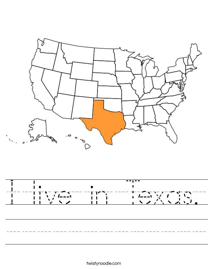 I live in Texas. Worksheet