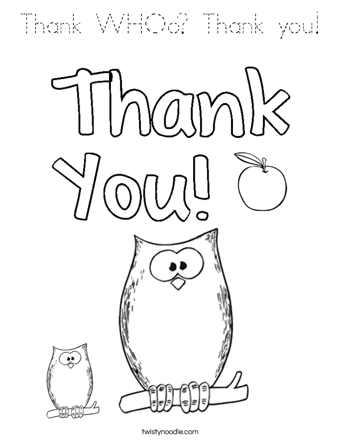 Thank WHOo Thank you Coloring Page