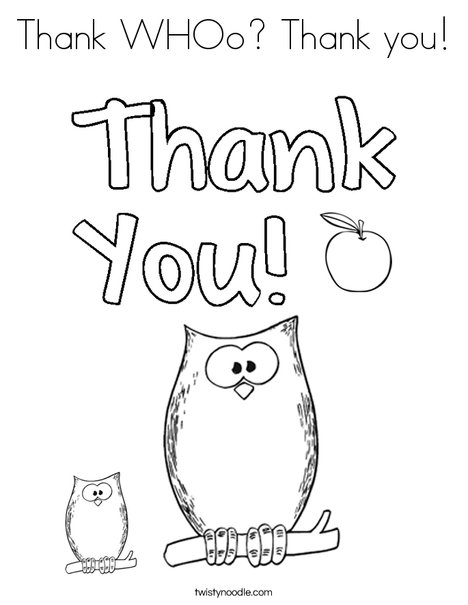 Thank WHOo Thank you Coloring Page - Twisty Noodle