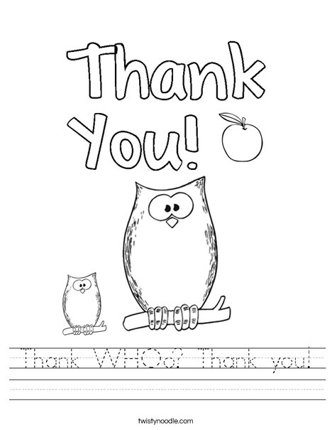 Thank WHOo? Thank you! Worksheet