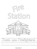 Thank you Firefighters Handwriting Sheet