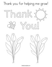 Thank you for helping me grow Coloring Page