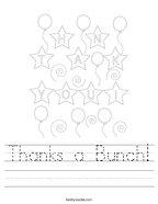 Thanks a Bunch Handwriting Sheet