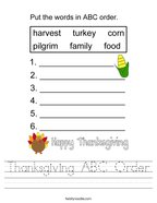 Thanksgiving ABC Order Handwriting Sheet