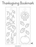 Thanksgiving Bookmark Coloring Page