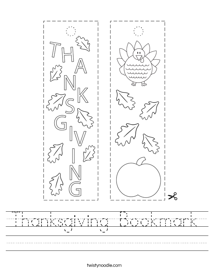 Thanksgiving Bookmark Worksheet