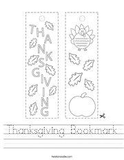 Thanksgiving Bookmark Handwriting Sheet