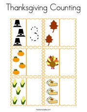 Thanksgiving Counting Coloring Page