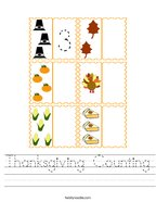 Thanksgiving Counting Handwriting Sheet
