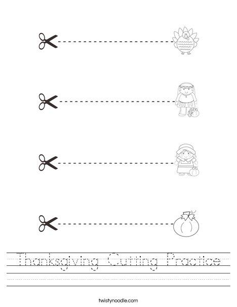 Thanksgiving Cutting Practice Worksheet