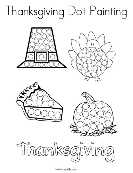 Thanksgiving Dot Painting Coloring Page