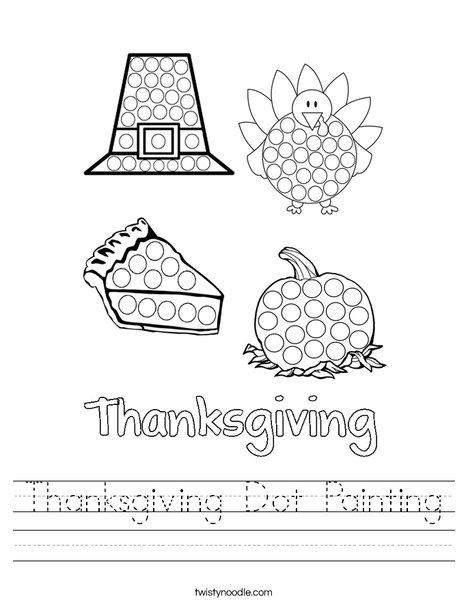 Thanksgiving Dot Painting Worksheet