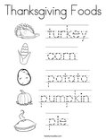 Thanksgiving Foods Coloring Page