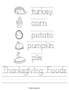 Thanksgiving Foods Handwriting Sheet