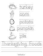 Thanksgiving Foods Handwriting Sheet