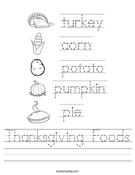 Thanksgiving Foods Worksheet
