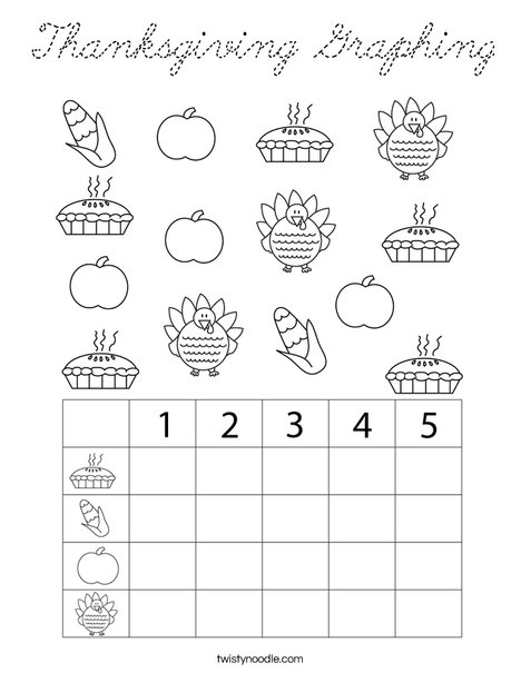 Thanksgiving Graphing Coloring Page