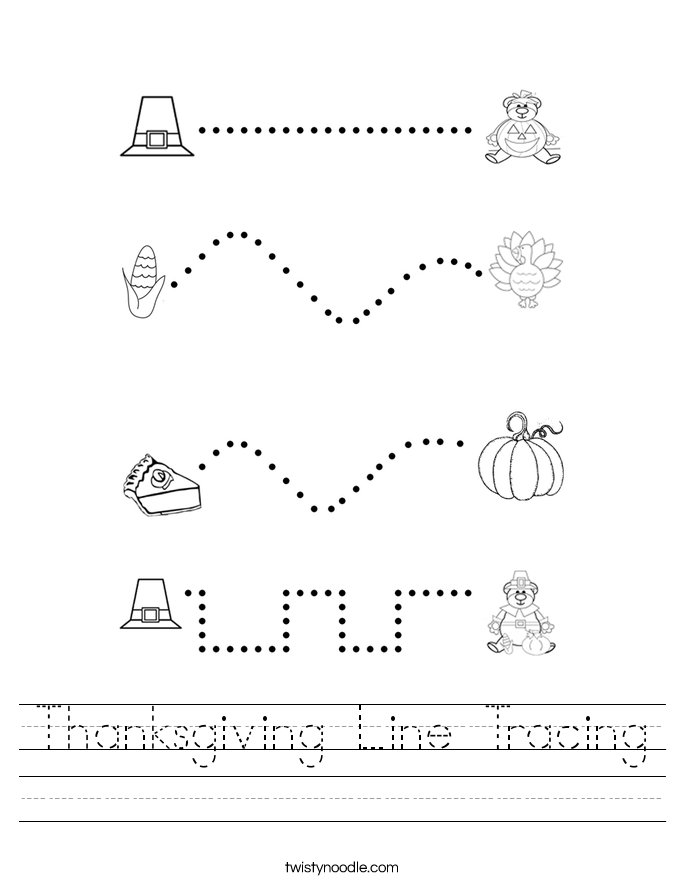 Thanksgiving Line Tracing Worksheet