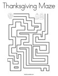 Thanksgiving Maze Coloring Page